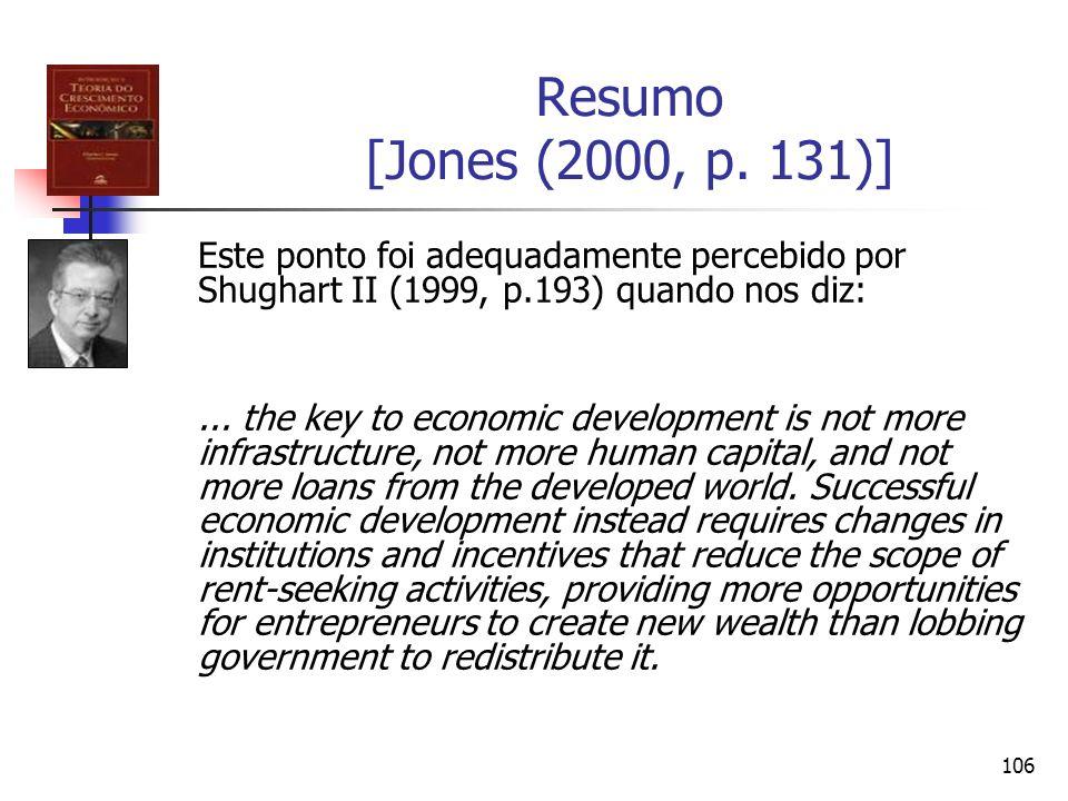 Resumo [Jones (2000, p. 131)] Este ponto foi adequadamente percebido por Shughart II (1999, p.193) quando nos diz: